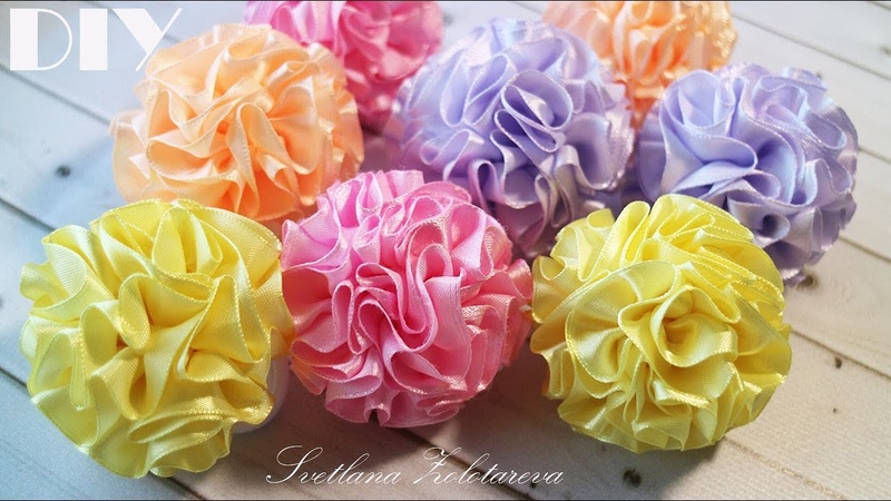 Пушистые шарики из ленты 🌸 Резинки для волос 🌸 Цветы