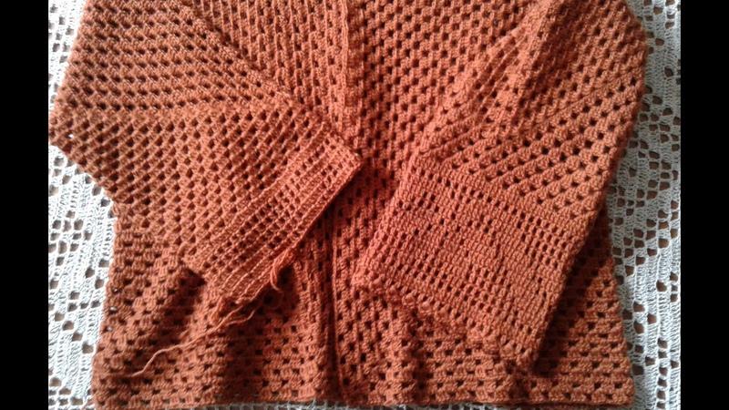 Кардиган из шестиугольников Часть 3 Соединяем две детали рукава Knitting women's cardigan