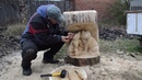 ОРЕЛ и волчата ! Мини мастер - класс . Скульптура из дерева .
