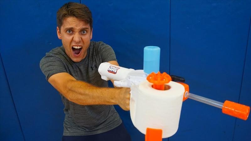 TOILET PAPER SPIT BALL BLASTER! *Trick Shot Battle World Records*
