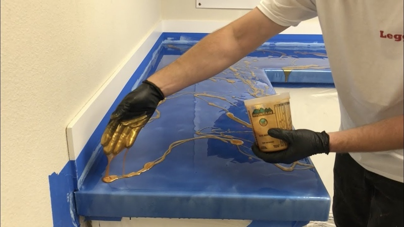 Installing Metallic Epoxy Countertop Kit with my Hands
