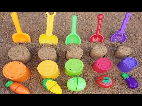 Play with sand molds vegetable and toy shovels on outdoor playground ABC song for kids