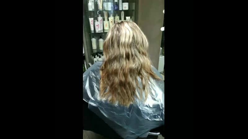 Комплекс Окрашивание волос стрижка Молекулярное восстановление волос с чёрной икрой
