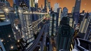 Futuristic city in Cities Skylines game Flying cars and Fifth Element atmosphere