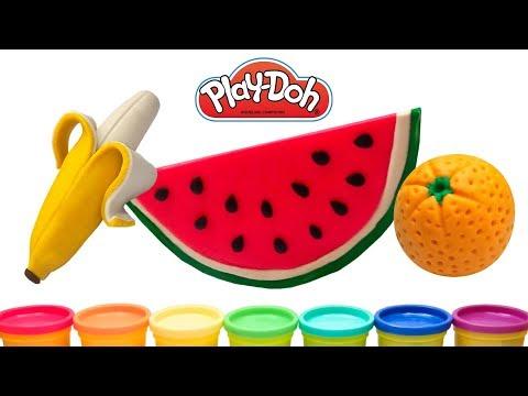 Лепим Фрукты из Play doh Как слепить Банан Арбуз Апельсин из пластилина плей до Rainbow fruits