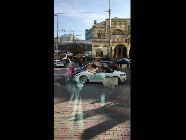 Russian Girl with AXE getting MAD and crash PORSCHE!