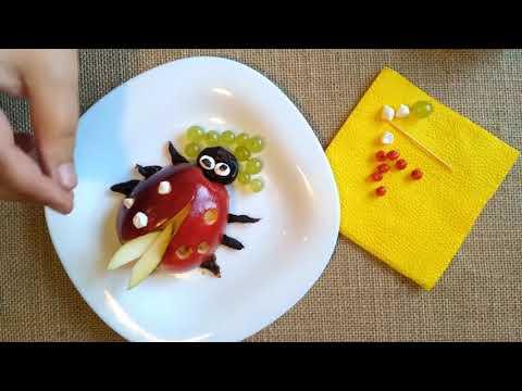 5 лайфхака DIY Как сделать божью коровку из яблока.