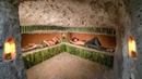 Dig hole under wood roots to build secret hidden underground villa house