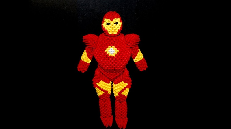 How to make 3d origami Iron Man part3