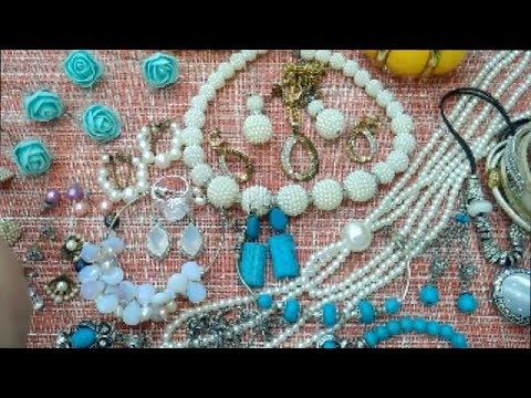 Обзор на бижутерию с сайта Алиэкспресс. Много жемчуга, лунного камня и бирюзы.