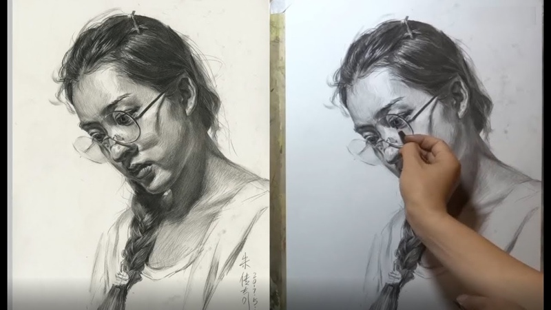 Young Girl Portrait Drawing - That why you should use charcoal pencil