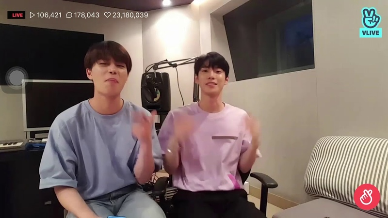 Doyoung and Taeil playing the song mine from Bazzi