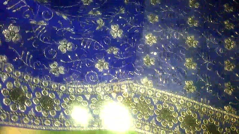 Сари основное поле (Часть 2), расшитое серебристыми пайетками, синее \ тёмное \ полупрозрачное. Индия.