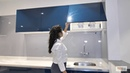 L-Shaped Kitchen Design by Sunbird Kitchens (Blue- Glossy Finish)