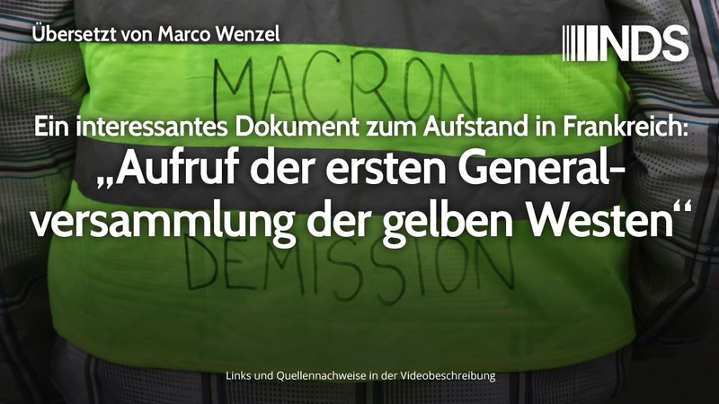 Aufruf der ersten Generalversammlung der gelben Westen   Übersetzt von Marco Wenzel