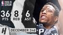 DeMar DeRozan Full Highlights Spurs vs Blazers 2018 12 02 36 Pts 6 Ast 8 Rebounds