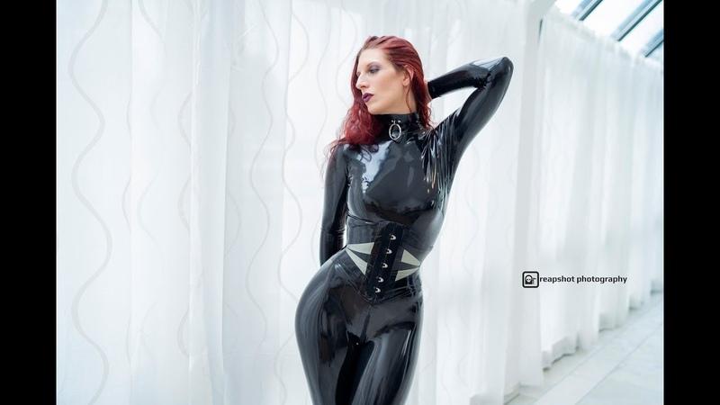 Latex in 4K | Black Latex Catsuit Model - Part 1