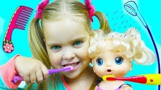 Лера и Кукла Пупсик просыпаются утром. Видео для детей first class for kids