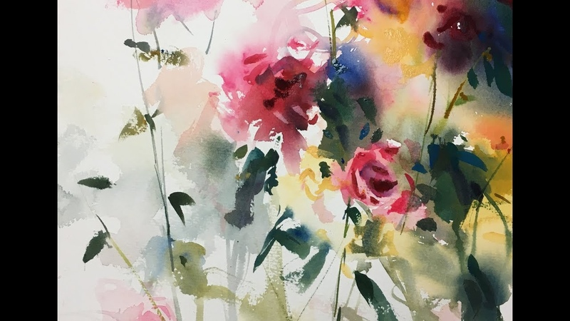 Flowers Watercolor painting fantasy illustration demonstration 2x speed