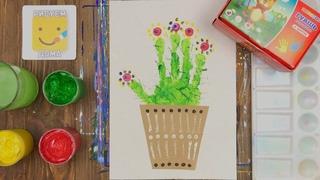 Как нарисовать кактус/ Урок рисования для детей/ Нетрадиционные техники/ How to Draw a Cactus