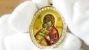 Золотая нательная икона Владимирской Божией Матери с бриллиантами
