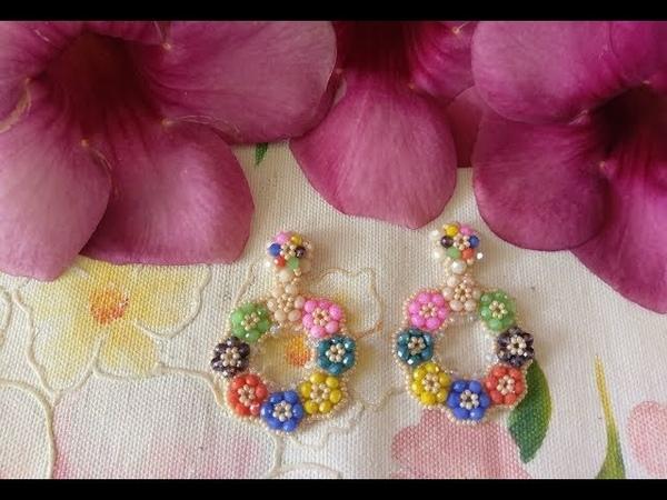 Tutorial Aretes coloridos de flores en cristales y mostacillas