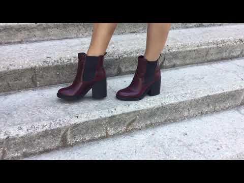 Бордовые ботинки челси из натуральной кожи от Джино Фиджини на ножках.