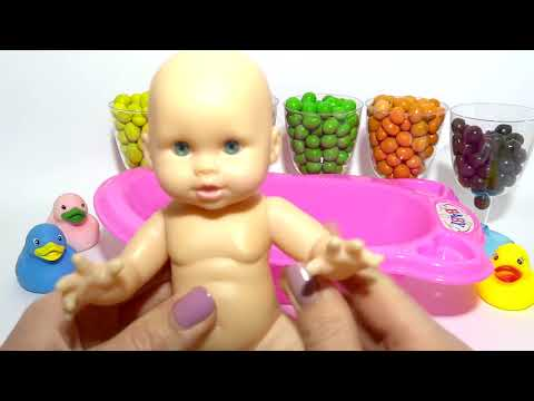 Learn Colors M Ms Chocolate Baby Doll Bath Time Potty Training Finger Family Song Nursery Rhymes