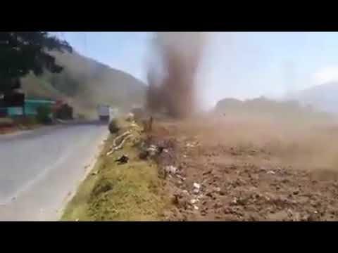HUGE dust devil in La Emboscada, San Miguel Sigüilá, Quetzaltenango, Guatemala