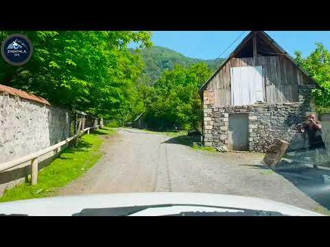Zaqatala 2018 Seherden car kendine dogru maraqli avtomobil gezintisi 4K