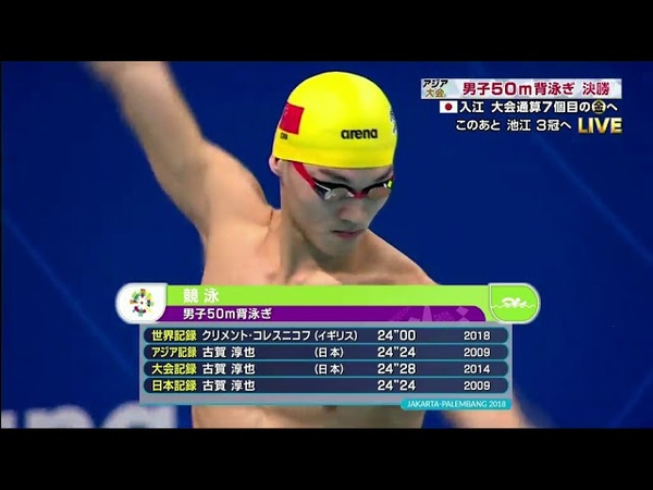 Men's 50m Backstroke FINAL Asian Games 2018