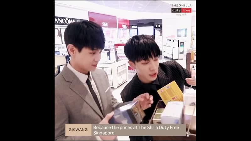Yoseob and Gikwang promoting Shilla Duty Free's products