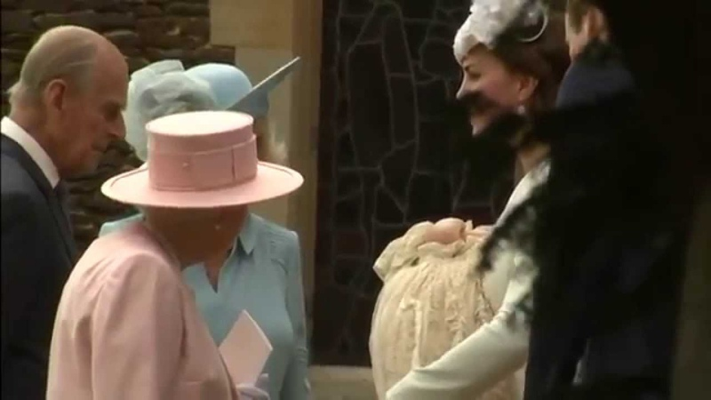 Princess Charlotte's christening: royals leaving the church