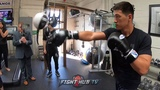 DMITRY BIVOL SHOWS AMAZING HAND EYE COORDINATION WHILE TRAINING ON HEAVY END BAG!