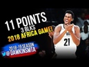 Hassan Whiteside Full Highlights in 2018 Africa Game - 11 Pts, 3 Blks! | FreeDawkins