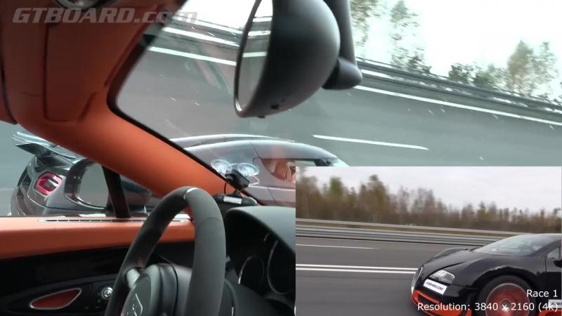 [4k] 50-350 km_h RACE Bugatti Veyron Vitesse vs Koenigsegg Agera R Highspeed Oval