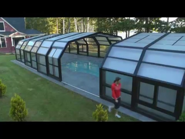 Retractable Pool Enclosure Opened by Hand Project 2375