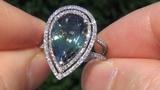 EXTREMELY RARE 6.87ct Fancy Green Tanzanite Diamond Vintage Ring 14k White Gold INTERNALLY FLAWLESS