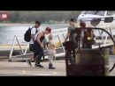 Pink takes a charter helicopter with her family to Brisbane show