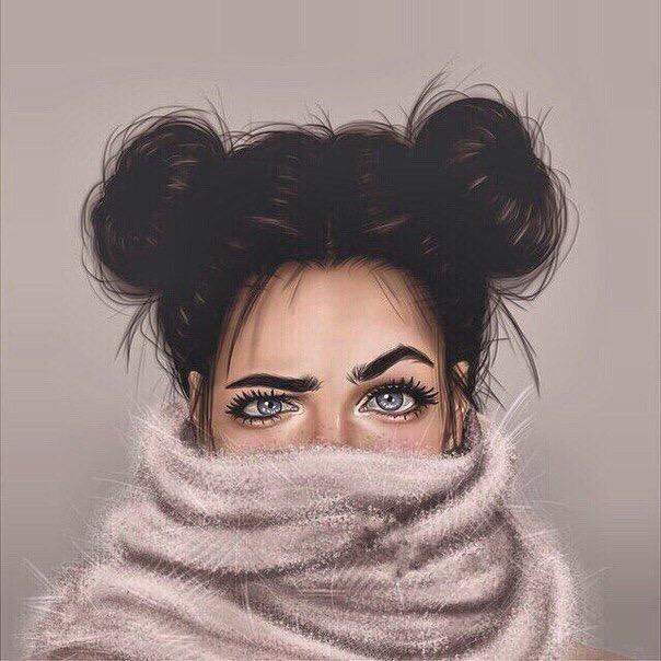 Прикольный рисунок девушка прячется