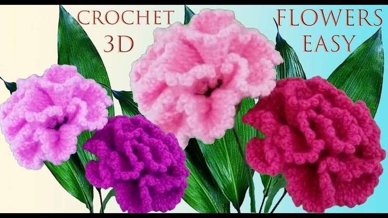 Como hacer flores muy fácil a Crochet claveles en punto 3D tejido tallermanualperu