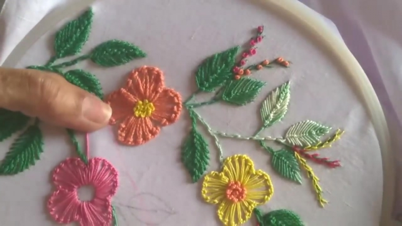 German knotted blanket stitched flower embroidery design