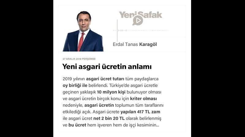 Erdal Tanas Karagöl - Yeni asgari ücretin anlamı - 27.12.2018