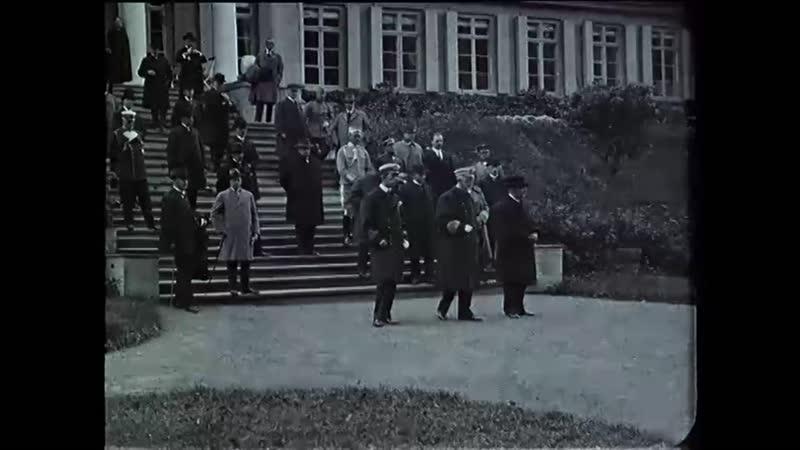 Визит шведского короля Густава V в Финляндию в 1925 году. На редкой исторической хронике запечатлен Выборг и парк Монрепо