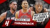 The Game that MVP Derrick Rose COMPLETELY DESTROYED LeBron James &amp Dwyane Wade 2011.03.06 - EPIC!