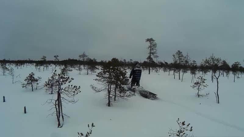 Мотобуксировщик вепс по глубокому снегу