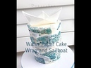 How to wrap a cake with wafer paper and make a wafer paper sailboat CAKE DECORATING