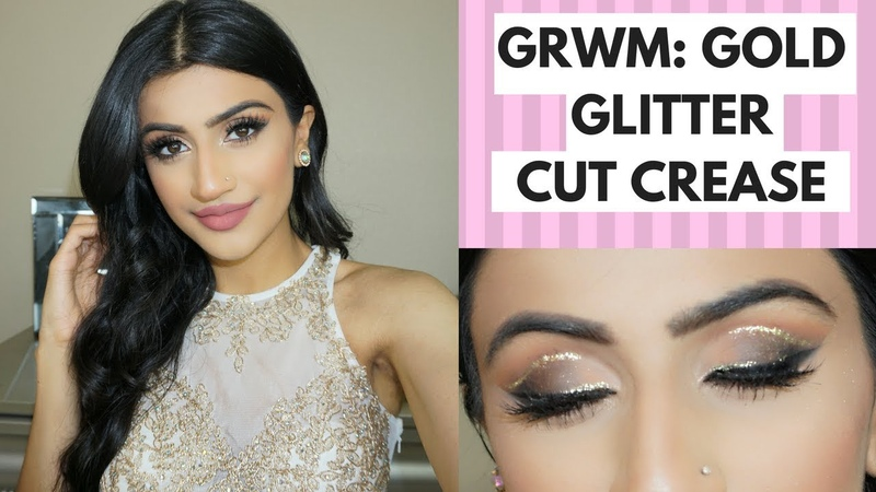 Gold Glitter Cut Crease Prom Makeup Tutorial