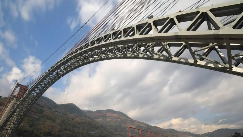 China builds four-lane railway arch bridge with world's longest span