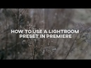 How to Use a Lightroom Preset in Premiere Color Grading Tool